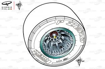 Mercedes F1 AMG W09 rim tyre