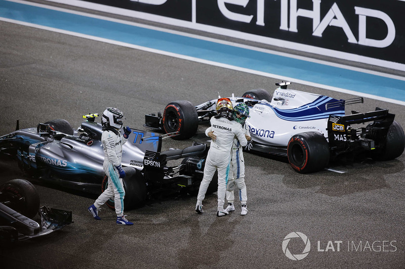 Lewis Hamilton, Mercedes AMG F1, Valtteri Bottas, Mercedes AMG F1 and Felipe Massa, Williams celebrate in parc ferme