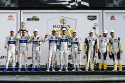 GTLM podium: first place Ryan Briscoe, Richard Westbrook, Scott Dixon, Chip Ganassi Racing, second place Dirk Müller, Joey Hand, Sébastien Bourdais, Chip Ganassi Racing, third place Antonio Garcia, Jan Magnussen, Mike Rockenfeller, Corvette Racing