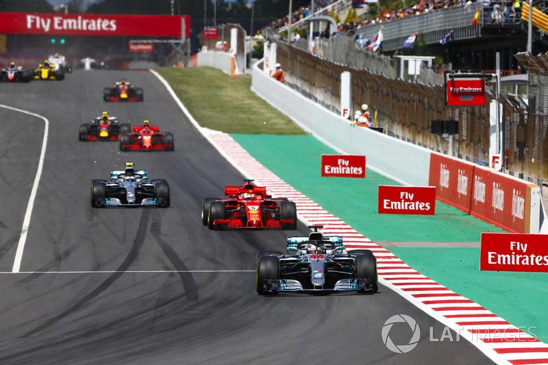 Lewis Hamilton, Mercedes AMG F1 W09, Sebastian Vettel, Ferrari SF71H, Valtteri Bottas, Mercedes AMG F1 W09 and Kimi Raikkonen, Ferrari SF71H