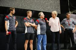 Romain Grosjean, Haas F1 Team, Kevin Magnussen, Haas F1 Team, Gene Haas, Team Owner, Haas F1 Team, Guenther Steiner, Team Principal, Haas F1 Team, on stage