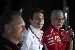 Руководитель Red Bull Racing Кристиан Хорнер, директор Mercedes AMG F1 Тото Вольф и руководитель Ferrari Маурицио Арривабене