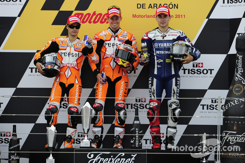 Podio GP Aragón 2011: 1º Casey Stoner, 2º Dani Pedrosa, 3º Jorge Lorenzo