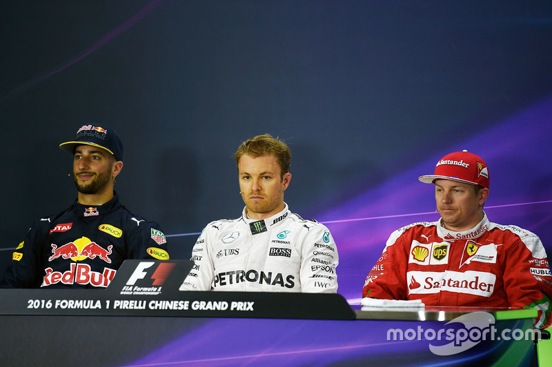 Conferencia de prensa: Daniel Ricciardo, Red Bull Racing, Nico Rosberg, Mercedes AMG F1 Team y Kimi Raikkonen, Ferrari