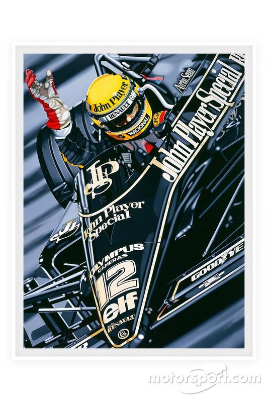 """Affiche """"Première victoire"""" d'Ayrton Senna, Lotus F1 au GP du Portugal 1985"""