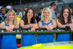 Grid girls with #16 Twin Busch Motorsport, Audi R8 LMS