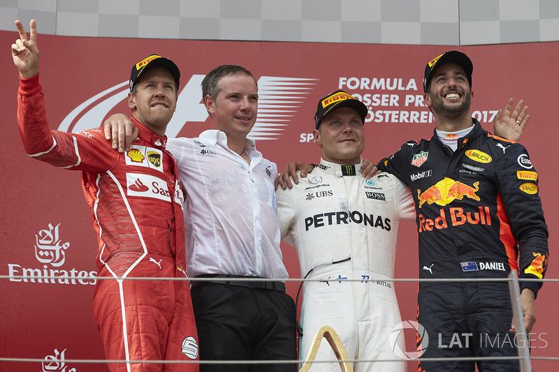 Avusturya GP - Kazanan Valtteri Bottas, 2. Sebastian Vettel, 3. Daniel Ricciardo