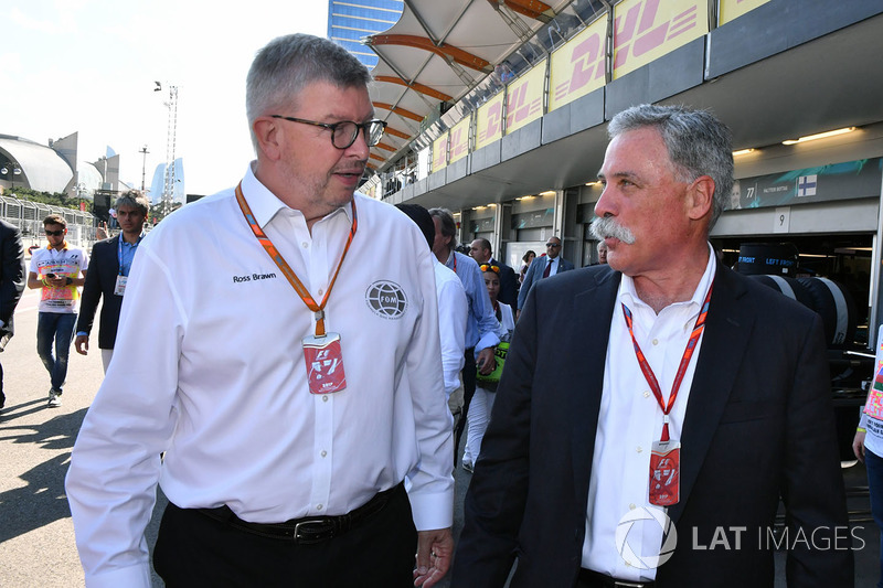 Ross Brawn, manager sportif Formula One et Chase Carey, PDG Formula One Group