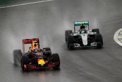 Max Verstappen, Red Bull Racing RB12 leads Nico Rosberg, Mercedes AMG F1 W07 Hybrid