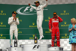 Podium: race winner Lewis Hamilton, Mercedes AMG F1, second place Valtteri Bottas, Mercedes AMG F1, third place Kimi Raikkonen, Ferrari