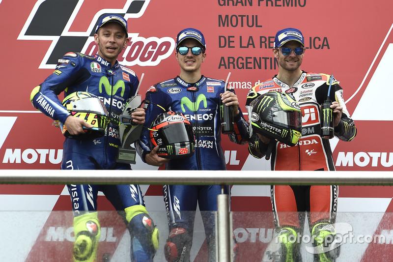 Podio: Valentino Rossi, Yamaha Factory Racing, Maverick Viñales, Yamaha Factory Racing, Cal Crutchlow, Team LCR Honda