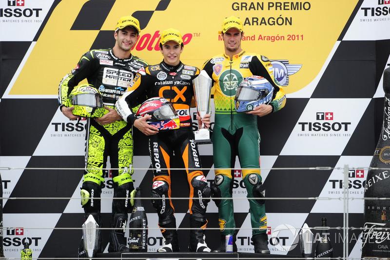 Podio: 1º Marc Márquez, 2º Andrea Iannone, 3º Simone Corsi