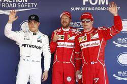 Polesitter Sebastian Vettel, Ferrari; 2. Kimi Räikkönen, FerrariM; 3. Valtteri Bottas, Mercedes AMG F1