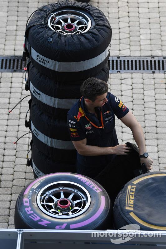 Red Bull Racing mechanic and Pirelli tyres