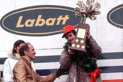 Podium: race winner Gilles Villeneuve, Ferrari, Pierre Elliot Trudeau, Prime Minister of Canada
