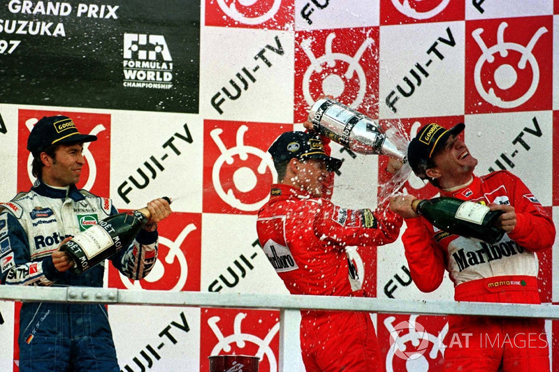 1997 Podium: 1. Michael Schumacher, Ferrari, 2. Heinz-Harald Frentzen, Williams Renault, 3. Eddie Irvine, Ferrari