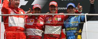 Formula 1 Schumacher wins US GP in Ferrari one-two
