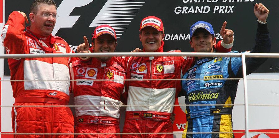 Schumacher wins US GP in Ferrari one-two