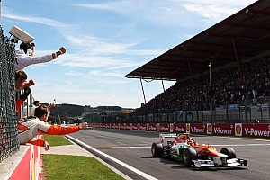 Formula 1 Race report Force India enjoyed a strong showing at Belgian GP