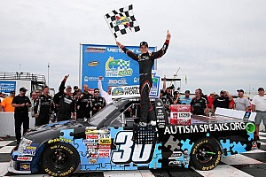 NASCAR Truck Race report Larson dominates, holds off late charge to claim first series win at the Rockingham Speedway