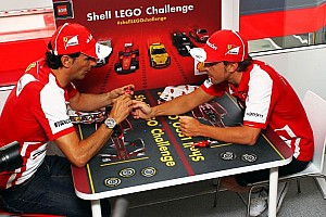 Formula 1 Breaking news Scuderia Ferrari official driver Alonso and test driver De la Rosa launch the Shell LEGO Challenge