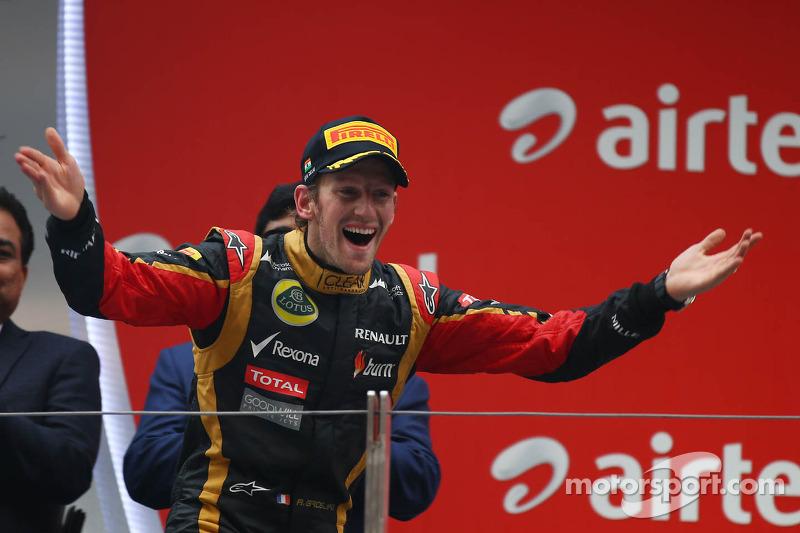 Podium for Lotus by Romain Grosjean at India