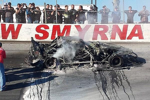 Stock car Jordan Ives survives fiery Super Late Model crash after brakes fail