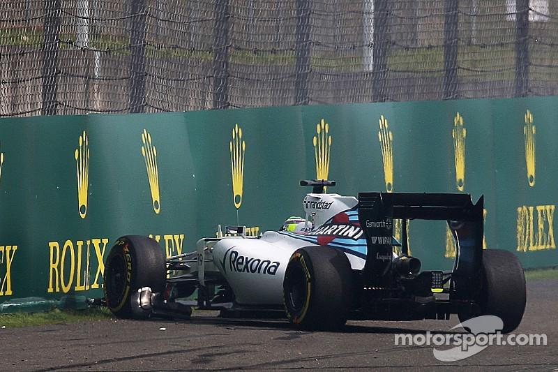 Massa chocó y se quedó sin el nuevo alerón delantero de Williams