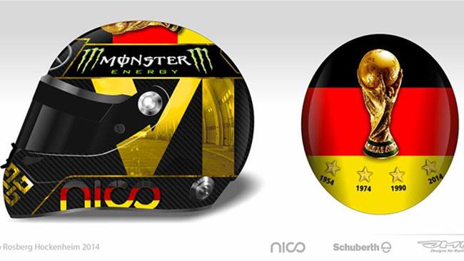Rosberg celebra il Mondiale della Germania sul casco