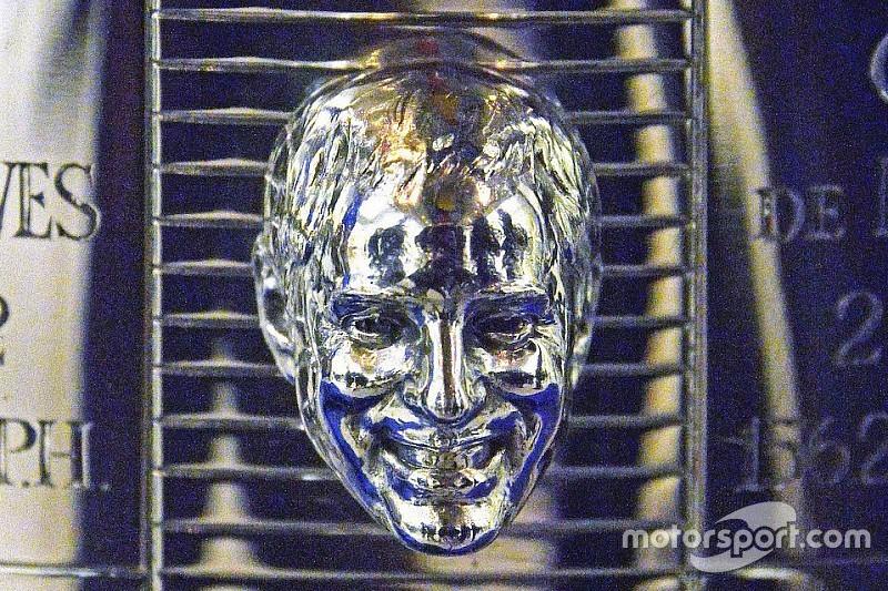 Das Gesicht von Juan Pablo Montoya auf dem Indy500-Pokal