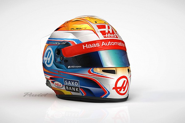 Presentación del Casco de Romain Grosjean 2016