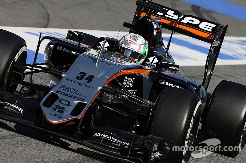 Alfonso Celis Jr in pista nelle libere in Bahrain con la Force India