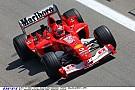 Michael Schumacher a 2003-as Ferrarival Barcelonában: siet…
