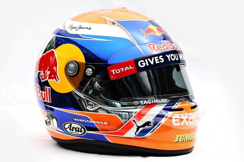 Verstappen met oranje helm in Spa