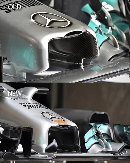 Mercedes привезла на Гран При Китая короткий носовой обтекатель