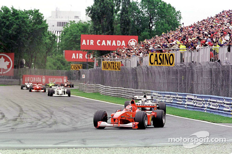 Schumi, Coulthard and Villeneuve