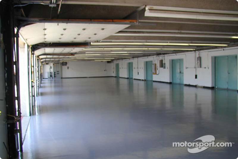 Inside garages before teams start setting up