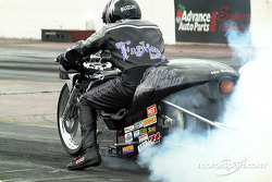 Rear view Suzuki burnout