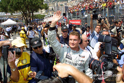 David Coulthard celebrating his pole position
