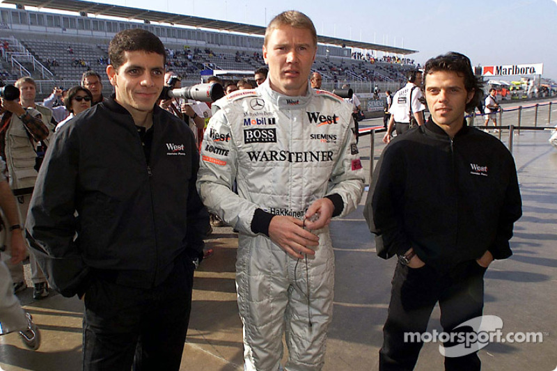 Mika Hakkinen and motorcyle racers Alex Barros and Loris Capirossi