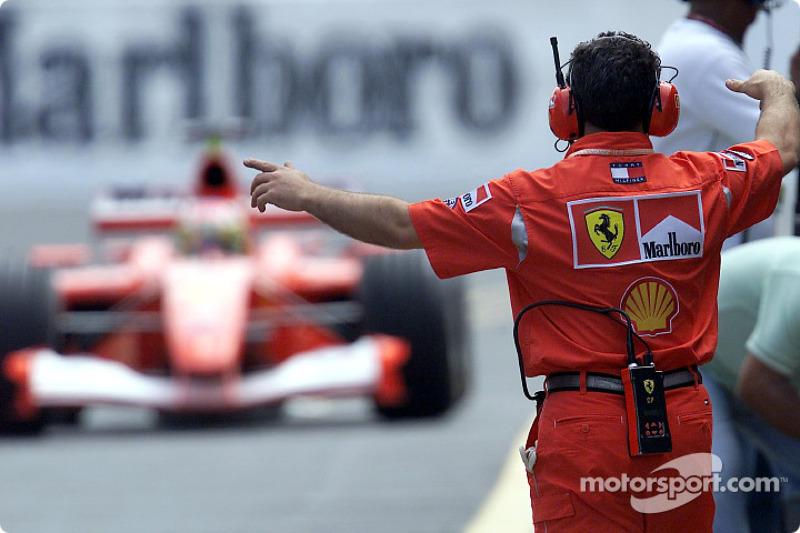 Rubens Barrichello in the pit lane