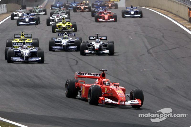 The start: Michael Schumacher leading the way