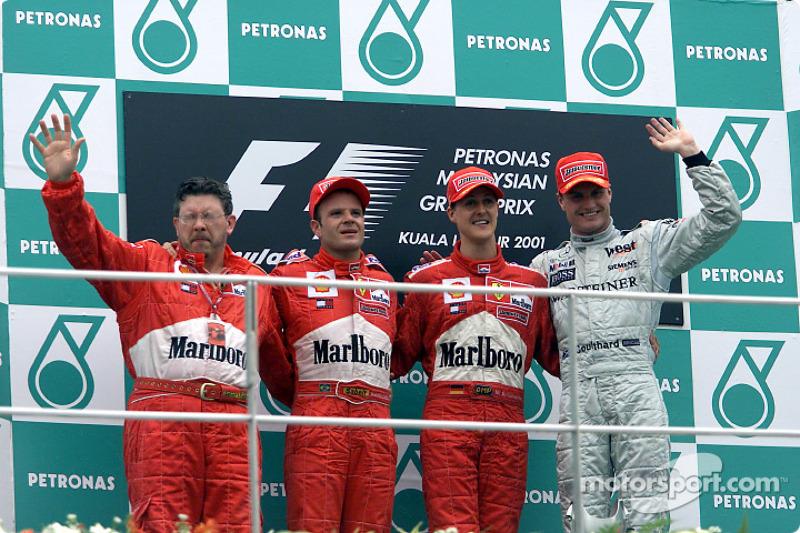 2001 : 1. Michael Schumacher, 2. Rubens Barrichello, 3. David Coulthard