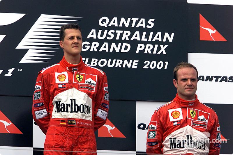 Michael Schumacher and Rubens Barrichello after a tragic race
