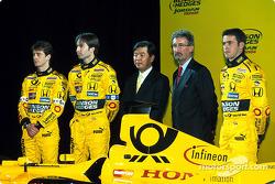 Jarno Trulli, Heinz-Harald Frentzen, Eddie Jordan and Ricardo Zonta