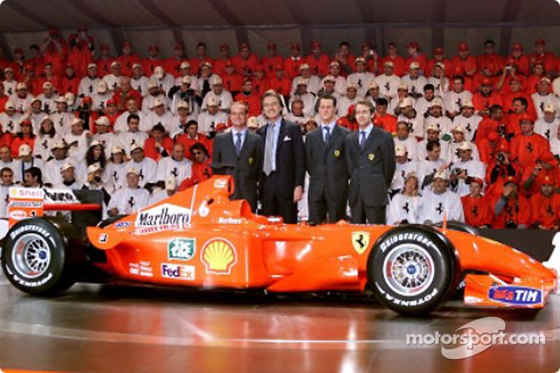 President Luca di Montezemolo and his boys: Rubens Barrichello, Michael Schumacher and Luca Badoer