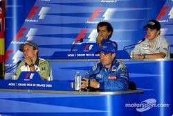 Persconferentie: Olivier Panis, Jean Alesi, Alain Prost en Fernando Alonso
