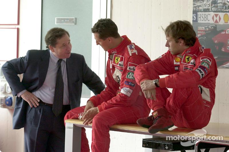 Jean Todt, Michael Schumacher and Luca Badoer