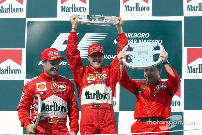 Podyum: Rubens Barrichello, Michael Schumacher ve Jean Todt