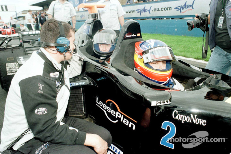 On the grid: Fernando Alonso and Louise Goodman